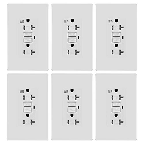 20A GFCI Self Testing Outlet WR TR Weather Resistant Tamper Resistant Receptacle Ground Fault Circuit Interrupter Outlets (20A GFCI Self Test WR TR 6pack)