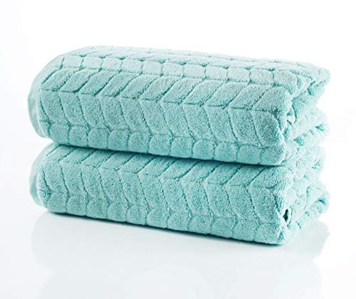 Bagno Milano Jacquard-Woven Towels – Ultra-Absorbent & Fast-Drying Spa Towels – Non-GMO Turkish Cotton Towels – Durable & Plush Luxury Towels – Eco-Friendly Towels – Soft Spa Towel Bundle - Mint 2 Pcs