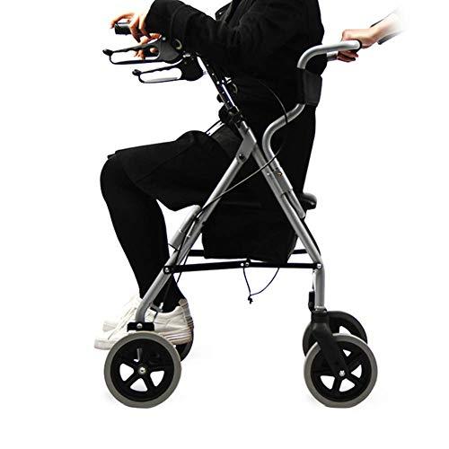Walker, Rollator Aluminium Leichter Gehrahmen Klappbarer Walker Drive 4-Rad-Wagen Mit Mobilitätshilfe Für...