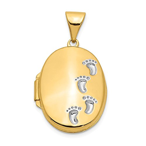 14k Yellow Gold Footprints Photo Pendant Charm Locket Chain Necklace That Holds Pictures Oval Fine Jewelry For Women Gifts For Her