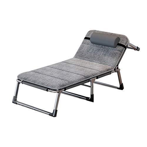 Schlafzimmer Metallbetten Wegklappen Gästebetten Outdoor-Reisen Camping Bett Beach Chair Balkon Lounge Chair Tragfähigkeit 300kg + Matratze (Color : Gray, Size : 190 * 70 * 30cm)