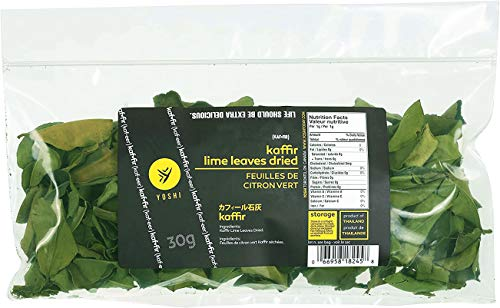 YOSHI : Dried-Kaffir-Lime-Leaves, 30g | Curry Leaves, Premium Gourmet Ingredient for Thai & Asian Cuisine , The Healthy Product..