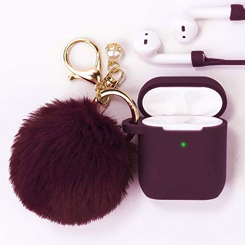 Filoto Airpods Case, Airpod Case Cover for Apple Airpods 2&1 Charging Case, Cute Air Pods Silicone Protective Accessories Cases/Keychain/Pompom/Strap, Best Gift for Girls and Women, Burgundy