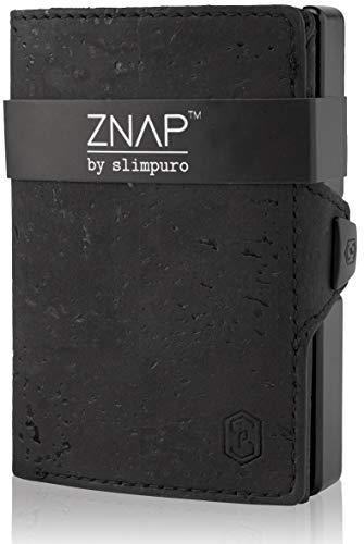 ZNAP Slim Wallet mit Münzfach - Kreditkartenetui mit Geldklammer - RFID Schutz - Schwarz Korkleder - Kartenetui, Kreditkarten Etuis, Geldbeutel - bis 12 Karten - Geld Clip von SLIMPURO