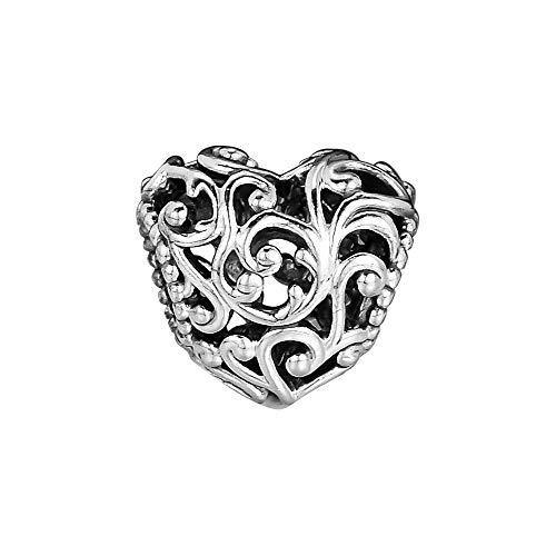LIJIAN DIY 925 Cuentas De Abalorio De Plata Regal Heart Make Original Pandora Collar Pulsera Y Tobillera Regalos para Damas