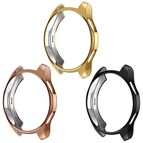 Case Compatible Samsung Galaxy Watch 42mm, NaHai TPU Slim Plated Case Shock-Proof Cover All-Around Protective Bumper Shell for Galaxy Watch 42mm Smartwatch, 3 Pack Clear,Black,Rose Gold