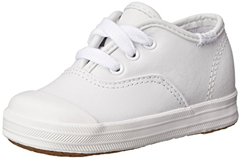 Keds unisex child Champion Lace Toe Cap Sneaker First Walker Shoe, White, 8 Toddler US