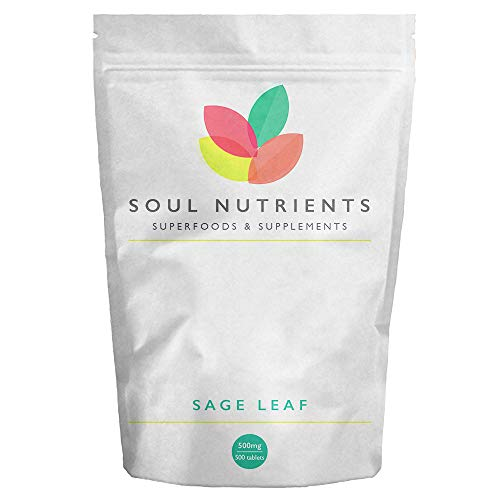 Sage Leaf Tablets- 500mg (4:1 Extract Ratio) 500 Natural Anti-Viral Sage Leaf Tablets – Very Popular Supplement for Menopausal Symptoms- Helps to Reduce Hot Flushes and Night Sweats – Herbal HRT