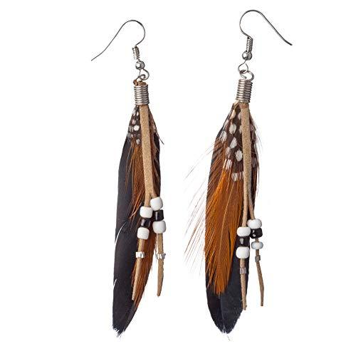 ORLOB Pocahontas - Pendientes de Plumas, Estilo Indio, Color Negro y marrón