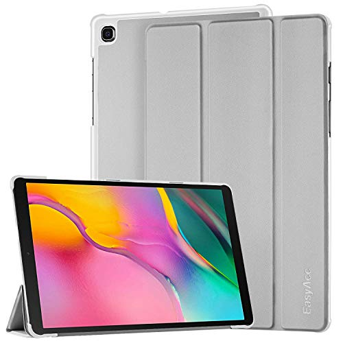 EasyAcc Hülle für Samsung Galaxy Tab A 10.1 2019 - Ultra Dünn mit Standfunktion Slim PU Leder Smart Schutzhülle Passt für Samsung Galaxy Tab A T510/ T515 10.1 Zoll 2019, Silber