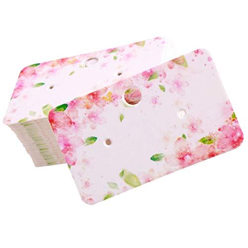 100pcs Papier Karten Schmuckdisplay Halter Ohrringe Ohrhaken Karten Hängen Halter Schmuckkarten - Pinke Blume