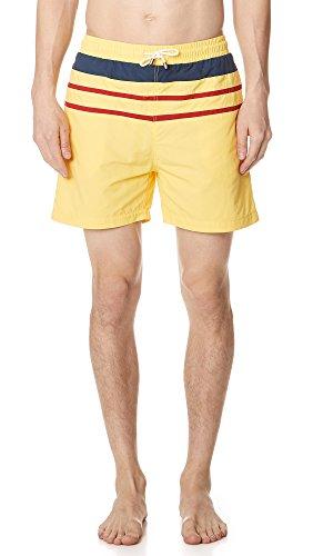Solid & Striped Herren Klassische gelbe Trunks mit Streifen - Gelb - Small