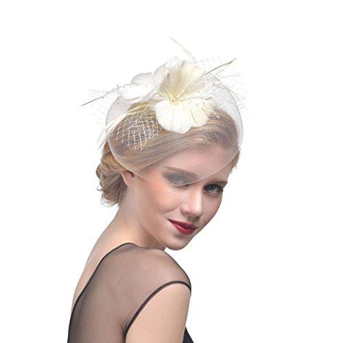 Sannysis Mujer Flor Cintas de malla Diadema Sombrero de Glamoroso Somb
