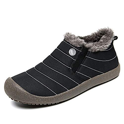 Ling Fengfeiyang Cálido Invierno Interior Forro de Felpa Pantuflas,Antideslizantes Interior Al Aire Libre Pantuflas,Pantuflas cálidas de Gran tamaño para Exteriores más Terciopelo, Escotado-Negro_44