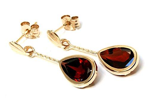 Ohrringe 9 Karat Gold Granat Tropfenform kurz