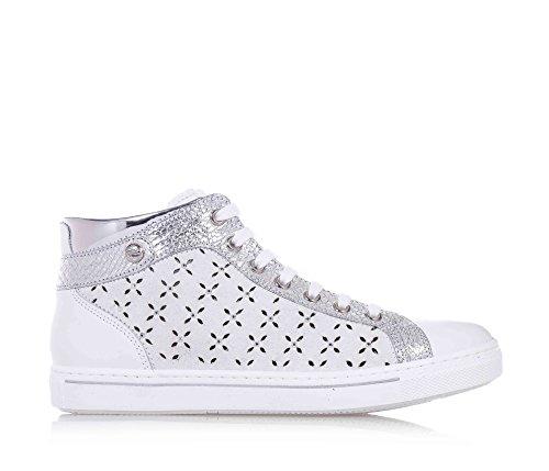 NERO GIARDINI - Sneaker, stringata bianca e argentata, in pelle e camoscio, con chiusura a zip laterale, laterale traforato, cuciture a vista, ragazza, Bambina-34