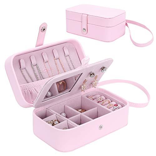 Seelux Caja Joyero Pequeña con Correa de Mano Viaje Cajas para Joyas Jewelry Organizer para Mujer, para Anillos, Aretes, Pendientes, Pulseras y Collares Rosa