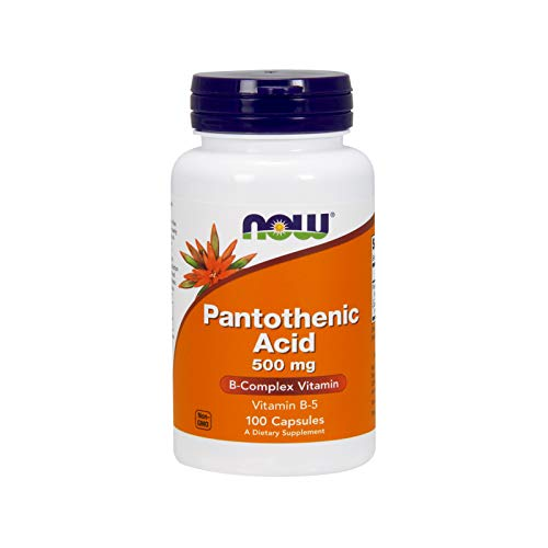 NOW Pantothenic Acid 500mg, 100 Capsules (Pack of 2)