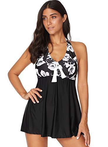 AMAGGIGO Damen Neckholder Push Up Badekleid Figurformender Badeanzug mit Röckchen Bauchweg Einteiliger Badekleid (EU 46-48, Bunt2)