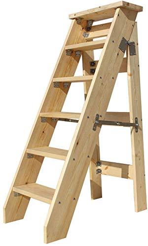 QTQZDD 6-steps kruk van hout, uitbreidbaar, voor in huis en op de trap, op trap, draagbaar, draagbaar trapladder, licht tuingereedschap, 330 lb capaciteit