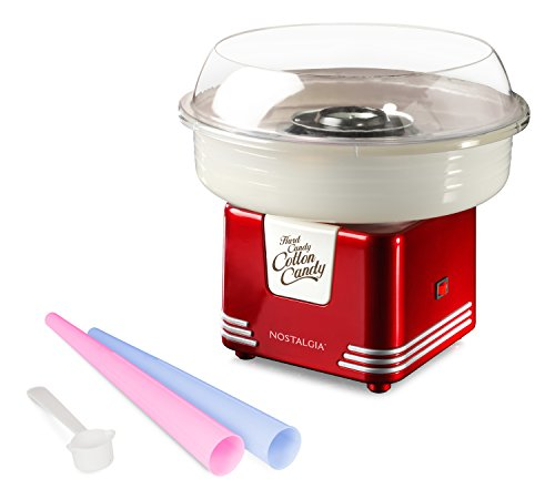 Nostalgia PCM405RETRORED Hard and Sugar Free Countertop Cotton Candy Maker, Includes 2 Reusable Cones and Scoop, Retro Red