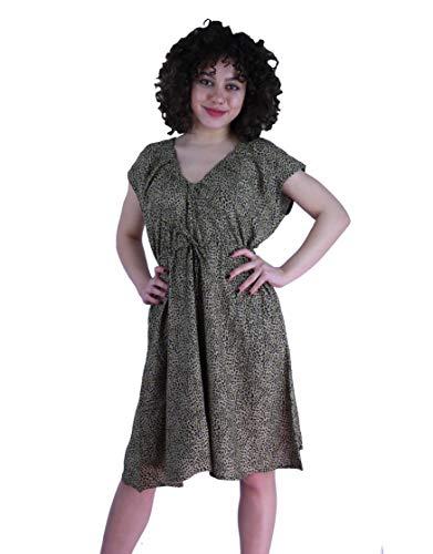 Induswereld dames jurken V-hals A-lijn zomerjurk strandjurk casual