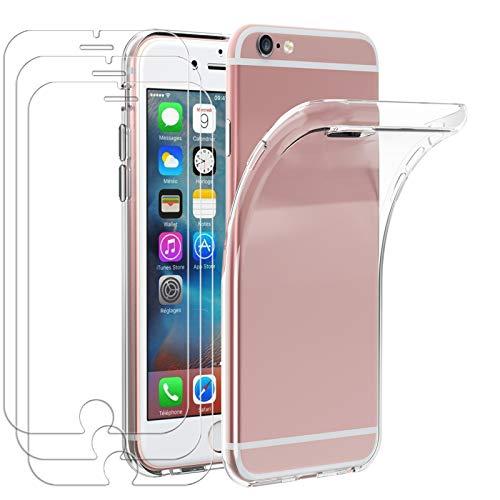 iVoler Custodia Cover per iPhone 6s / iPhone 6 + 3 Pezzi Pellicola in Vetro Temperato, Ultra Sottile Morbido TPU Trasparente Silicone Antiurto Protettiva Case per iPhone 6s / iPhone 6