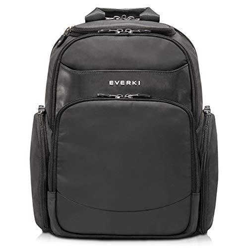 Everki Suite - Premium Laptop Rucksack für Notebook bis 14 Zoll (35,6 cm) mit patentiertem Laptop-Ecken–Schutz–System, Brillen-Hartschalenfach und weiteren hochwertigen Funktionen, Schwarz