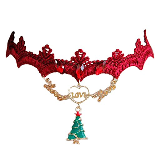 CHOUCHOU Halskette Ohrringe Schmuck Set Kette Frauen Lolita Gothic Choker Halskette Einstellbare Weihnachtsbaum Anhänger Spitze Schlüsselbein Kragen Mädchen Kleider Dekoration, Farbe: Weihnachtsbaum