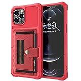 LAHappy Estuche Billetera Funda para iPhone 12 Pro MAX, Funda de PU Cuero con Ranura para Tarjeta Anti-Choque Protección Cáscara para iPhone 12 Pro MAX,Rojo