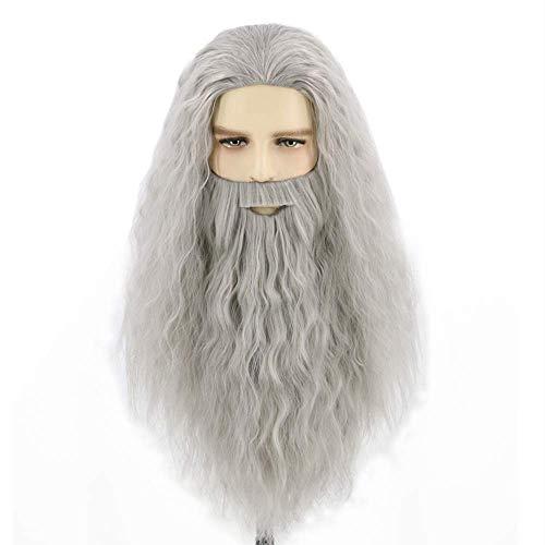 Topcosplay Peluca de Mago Gris Peluca con Barba Larga Rizada Peluca para Hombres Adultos Profeta Peluca para Disfraz de Halloween Carnaval (Gris)