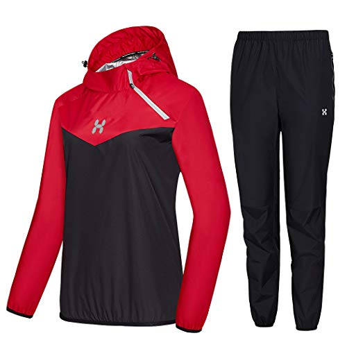 HOTSUIT Sauna Suit Women Weight Loss Boxing Gym Sweat Suits Workout Jacket, Red, L