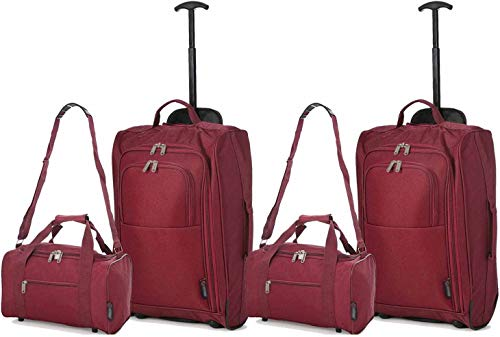 A Set of 4 Cabins 35x20x20 cm and a Second Suitcase 55x40x20,Red