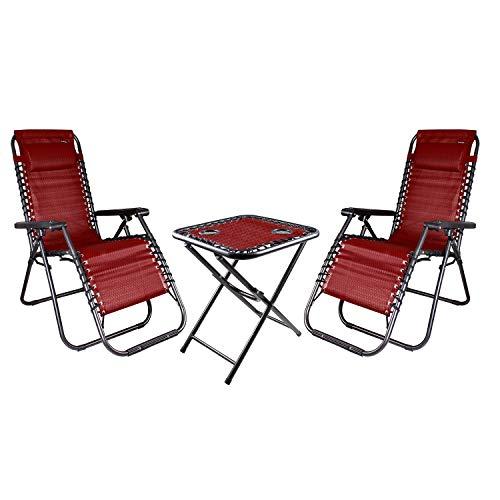 INDA-Exclusiv 3-teiliges Comfort Set Gartenstuhl Relaxsessel Relaxstuhl Liegestuhl verstellbar inkl. Kopfpolster und Getränkehalter rot