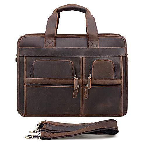 Heren leren aktetas, klassieke business schoudertas, 15-inch laptoptas, business school werk messenger tas (bruin)