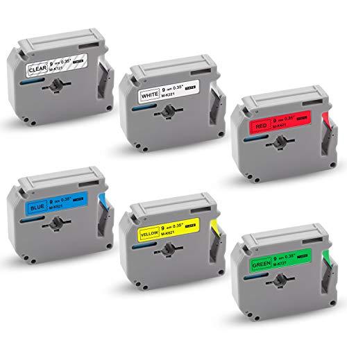 Xemax kompatibel Beschriftungsband Ersatz für Brother P-touch M-K121 M-K221 M-K421 M-K521 M-K621 M-K721 Bänder für PT-M95 PT-65 PT-70 PT-80 PT-85 PT-90 PT-45M PT-70SR PT-100 PT-110, 9mm x 8m, 6er-Pack