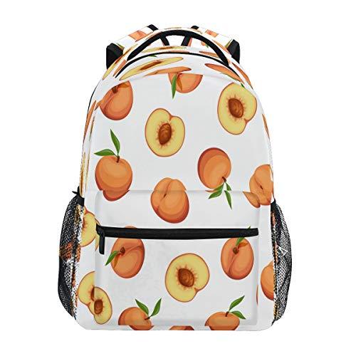 XIXIKO Mochila con patrón de frutas y melocotón, mochila escolar, para viajes, al aire libre, para mujeres, hombres, chico, deporte, gimnasio, senderismo, camping, mochila
