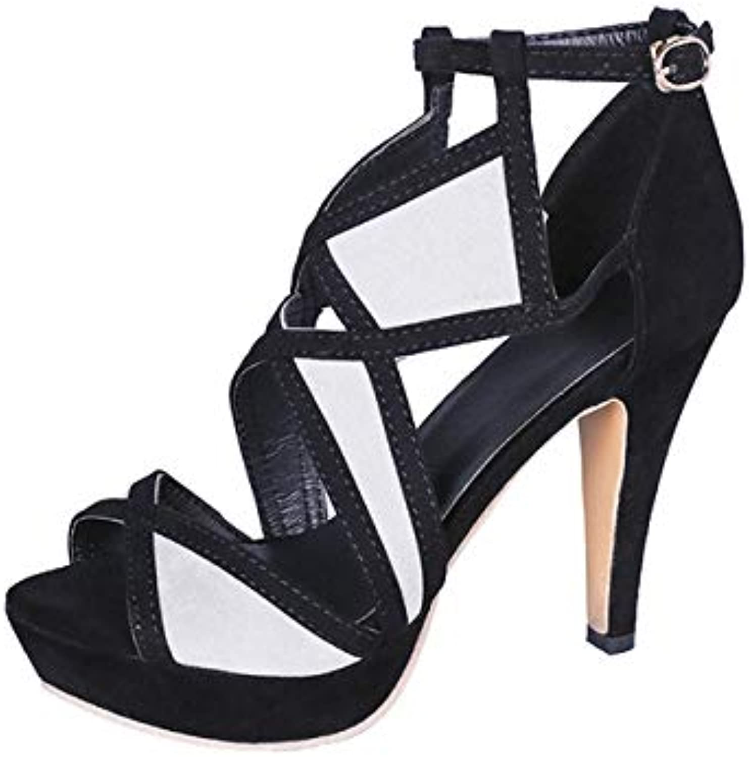 Women's Sandals Peep Toe High Heel Suede Credver Ankle Strap Block Buckle shoes for Lady Chunky Pointed Pumps shoes for Night Club Party