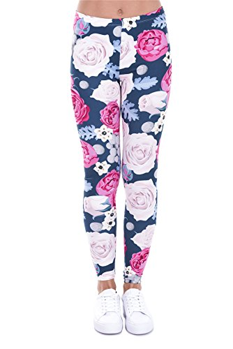 kukubird Printed Patterns Women's Yoga Leggings Gym Fitness Running Pilates Tights Skinny Pants 8 to 12 Stretchable - Wild Roses