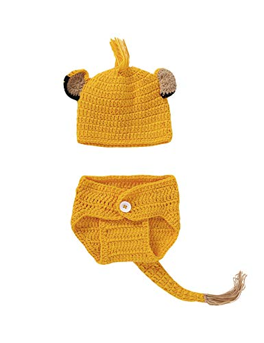 Shalofer Newbron Lion Costume Photo Photography Props Infant Crochet Knitted Diaper Outfits (Orange,one size)