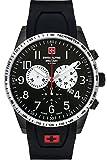 Swiss Alpine Military by Grovana 9877SAM, orologio da uomo con cronografo 10 ATM con cinturino in silicone (nero/nero