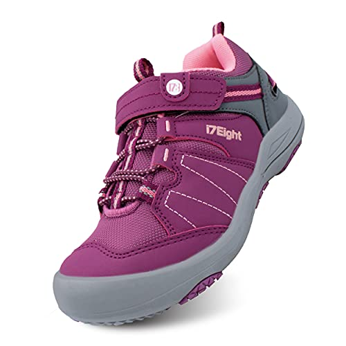 i78 Rainbow Low top Kids Boys Girls Sport Hiking Shoes Breathable Synthetic Leather Sneakers Non-Slip Lightweight Sole for Outdoor Trekking Trail Walking (Deep Pink, Numeric_13_Point_5)
