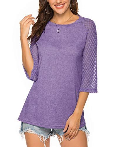 Koitmy Women's 3/4 Raglan Lace Sleeve Crewneck Blouses T-Shirt Tunics Tops Lilac