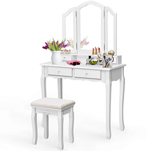 Giantex Vanity Set with Tri-Folding Mirror and 4 Drawers, Makeup Dressing Table with Cushioned Stool for Girls Women, Modern Bedroom Bathroom Makeup Table with Stool (White)