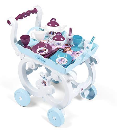 Smoby 310517 - Die Eiskönigin 2 Servierwagen - Spielset mit Spielzeug-Teeservice, inkl. Teller, Besteck, Becher, Serviertablett und Wagen auf Rollen für Kinder ab 3 Jahren