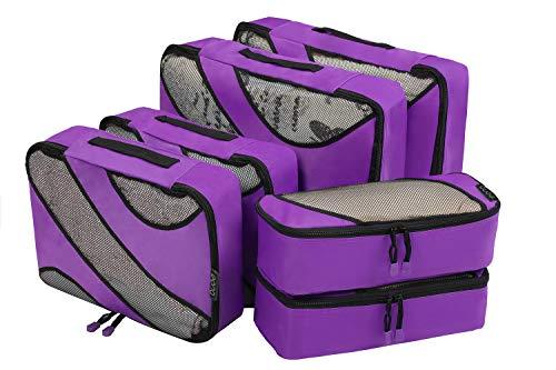Eono by Amazon - 6 Teilige Kleidertaschen, Packing Cubes, Verpackungswürfel, Packtaschen Set für Urlaub und Reisen, Kofferorganizer Reise Würfel, Ordnungssystem für Koffer, Packwürfel, Lila