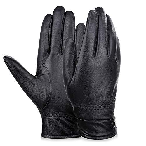 Small-shop Winter Gloves Gants en Peau de Mouton épais pour Homme, Homme, Noir, Large