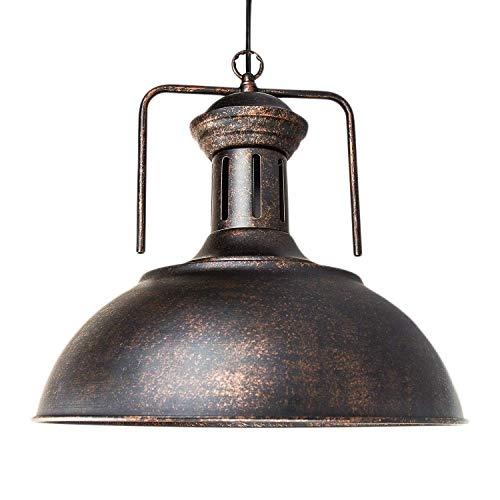 LLLKKK Lámpara colgante vintage de estilo náutico industrial, con forma de cúpula/cuenco de hierro forjado, 16 pulgadas de diámetro, para taller o restaurante