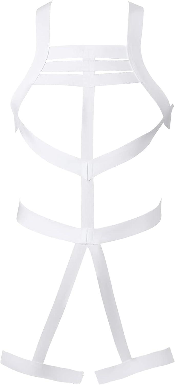 QinCiao Men Harness Belt Body Chest Elastic Straps Criss Cross Nylon Jockstrap Bodysuit