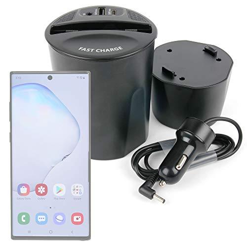DURAGADGET Cargador de Carga rápida inalámbrica + Puertos USB y USB C para Posavasos del Coche Compatible con móvil Samsung Galaxy Note 10 5G, Note 10+ 5G, Note 8, Note 9, S7, S7 Edge, S9, S9+